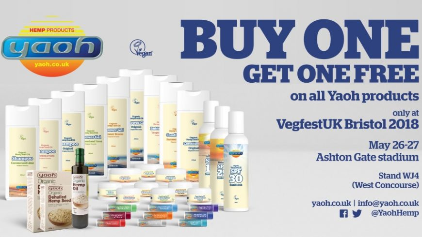 BUY ONE GET ONE FREE on all Yaoh products purchased at VegfestUK Bristol 2018