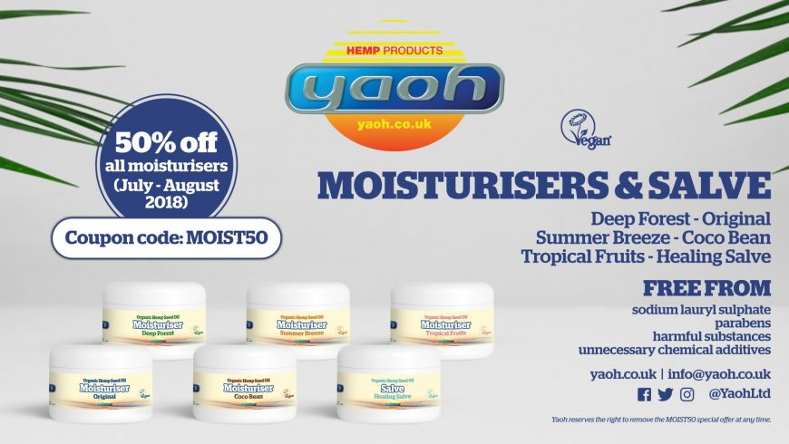50% off discount on Yaoh moisturisers from July – August 2018