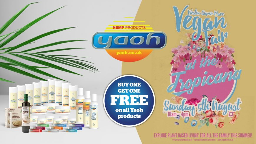 Yaoh exhibiting at Weston-super-Mare's first vegan fair on August 5th 2018 – BOGOF across all products