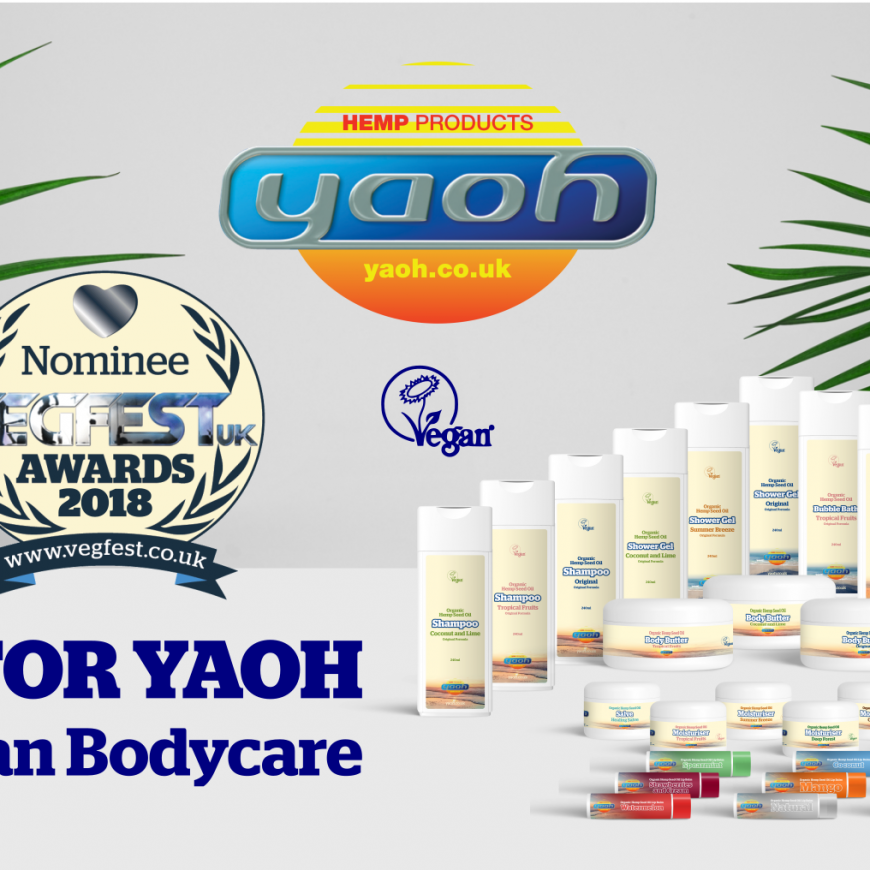 UK hemp company Yaoh nominated for Best Vegan Bodycare in VegfestUK Awards 2018