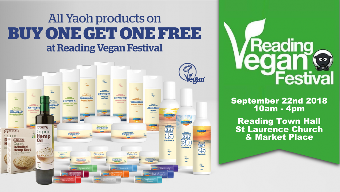 BOGOF offer available on all Yaoh products at Reading Vegan Festival