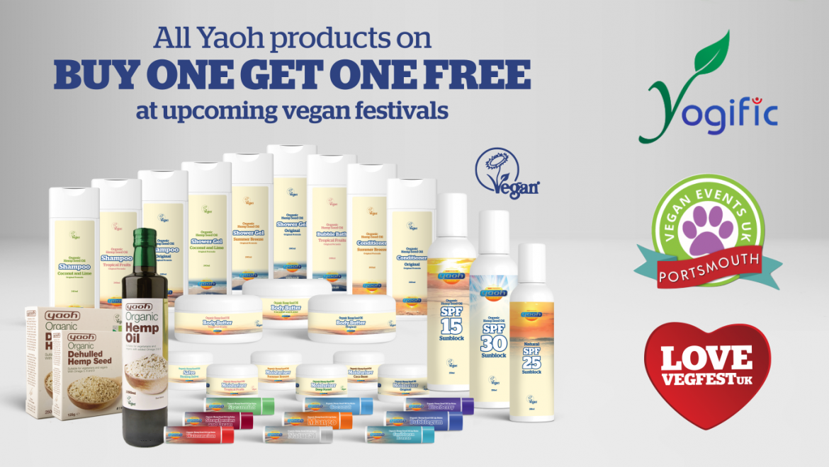 BOGOF on Yaoh hemp products at vegan festivals in Greenwich, Portsmouth and London