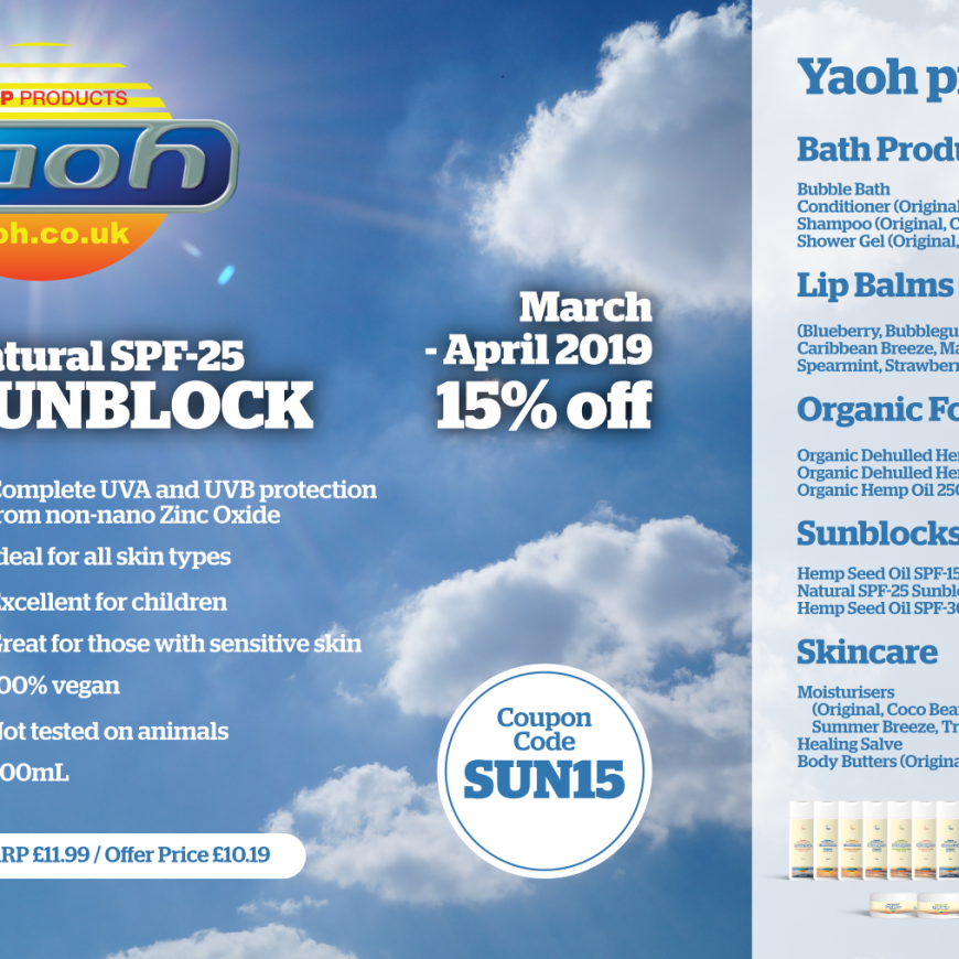 Yaoh Natural SPF-25 Sunblock – 15% off during March – April 2019